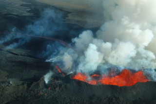 Aerial view of 2014 Bardarbunga volcano eruption in Iceland, Hawaii